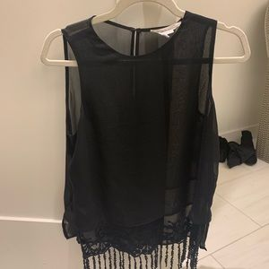 Black sheer BCBG going out top with lace fringe